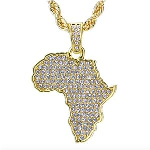 Other - Gold Africa Map Pendant Chain. CZ Diamond African
